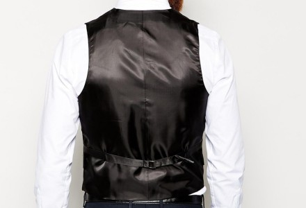 ASOS Slim Fit Suit In Navy Pindot waistcoat 2