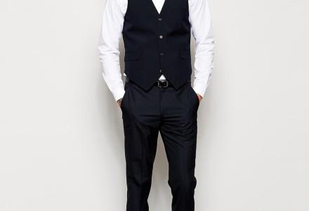 ASOS Slim Fit Suit In Navy Pindot waistcoat 3