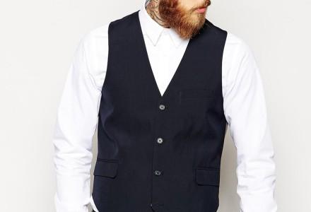 ASOS Slim Fit Suit In Navy Pindot waistcoat