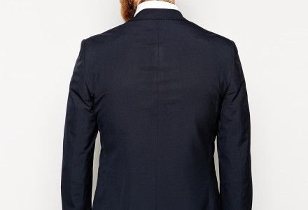 ASOS Slim Fit Suit Jacket In Navy Pindot 3