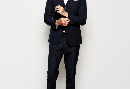 ASOS Slim Fit Suit Jacket In Navy Pindot