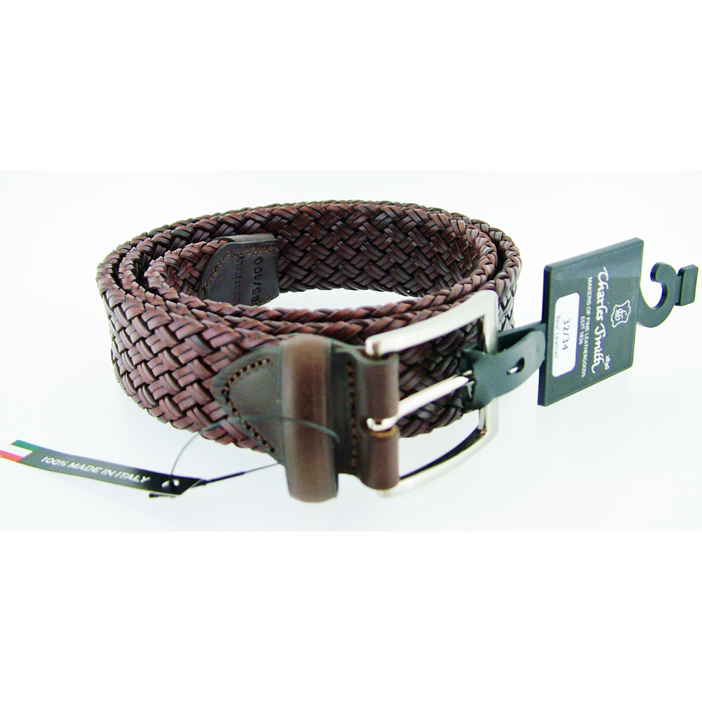 Charles Smith Brown Leather Woven Belt