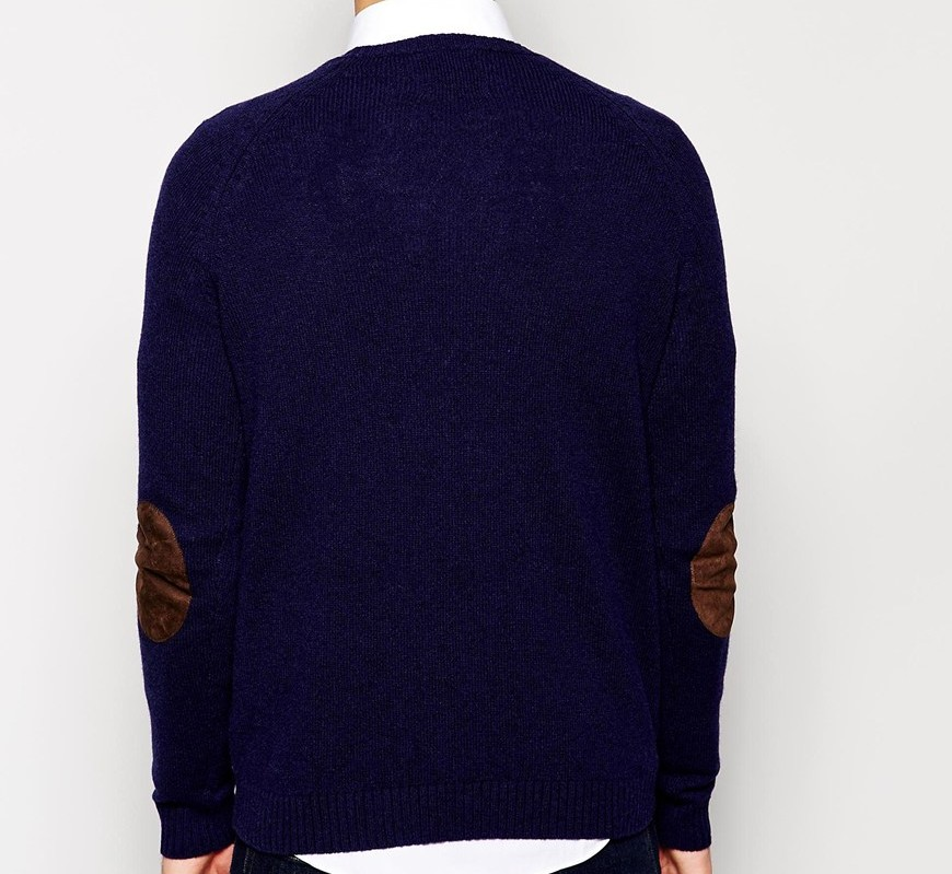 ASOS Lambswool Rich Crew Neck Jumper with Elbow Patches 2