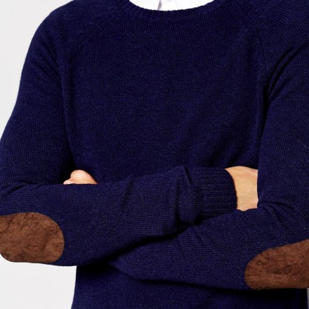 ASOS Lambswool Rich Crew Neck Jumper with Elbow Patches 3