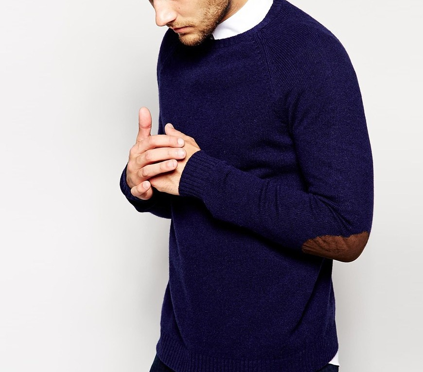 ASOS Lambswool Rich Crew Neck Jumper with Elbow Patches