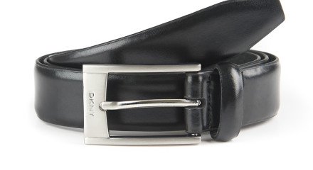 DKNY BLACK FULL GRAIN LEATHER LOGO BUCKLE BELT