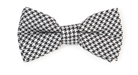 MOSS LONDON BLACK AND WHITE HOUNDSTOOTH BOW TIE
