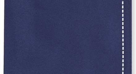 MOSS LONDON NAVY STITCH BORDER HANDKERCHIEF