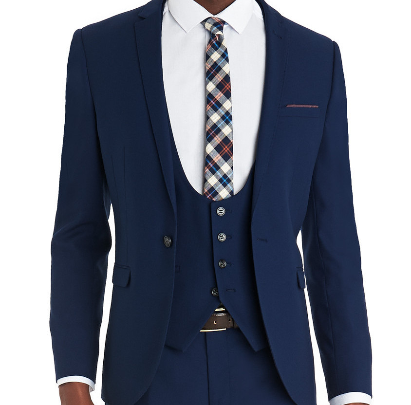 MOSS LONDON SLIM FIT NEW BLUE MIXER SUIT JACKET