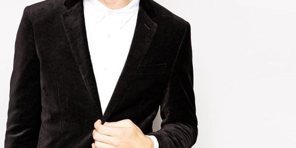 Selected Velvet Blazer With Pindot In Skinny Fit