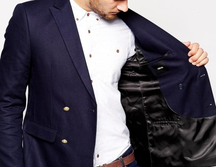 ASOS Slim Fit Double Breasted Blazer With Gold Buttons 3