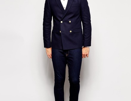 ASOS Slim Fit Double Breasted Blazer With Gold Buttons 4