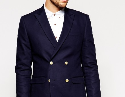 ASOS Slim Fit Double Breasted Blazer With Gold Buttons 5