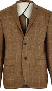 River Island Brown Check Three Piece Suit