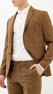 River Island Brown Check Three Piece Suit 2