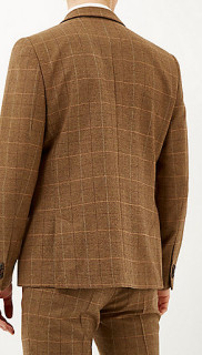River Island Brown Check Three Piece Suit 3
