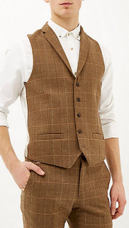 River Island Brown Check Three Piece Suit 7
