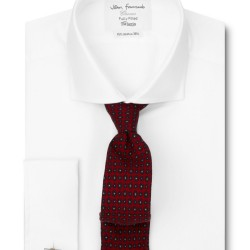 Fitted Plain White Twill Cutaway Collar Shirt – £34.95
