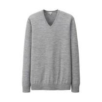MEN Extra Fine Merino V-Neck Sweater Grey