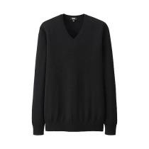 MEN Extra Fine Merino V-Neck Sweater Black